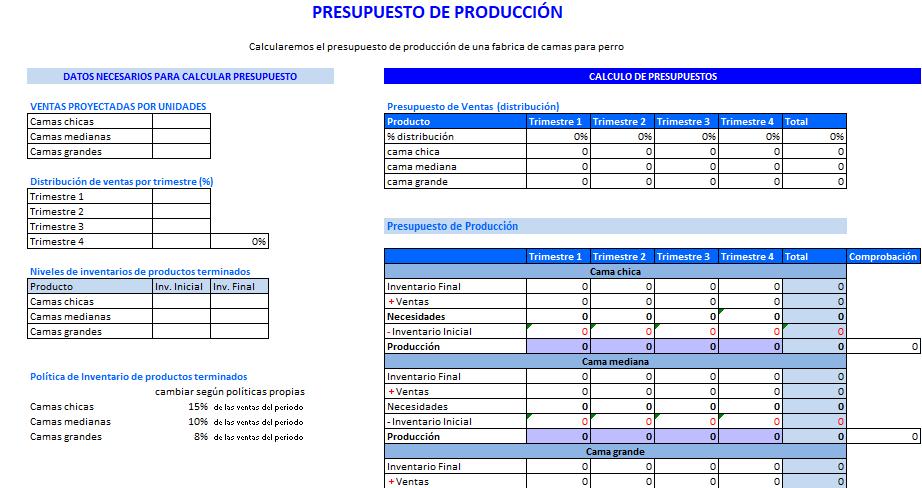 Formato Excel Presupuesto de Producción
