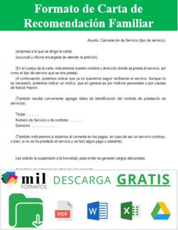 Formato de Carta de Recomendación Familiar