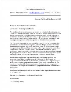 Ejemplo Carta de Exposición de Motivos para Estudios