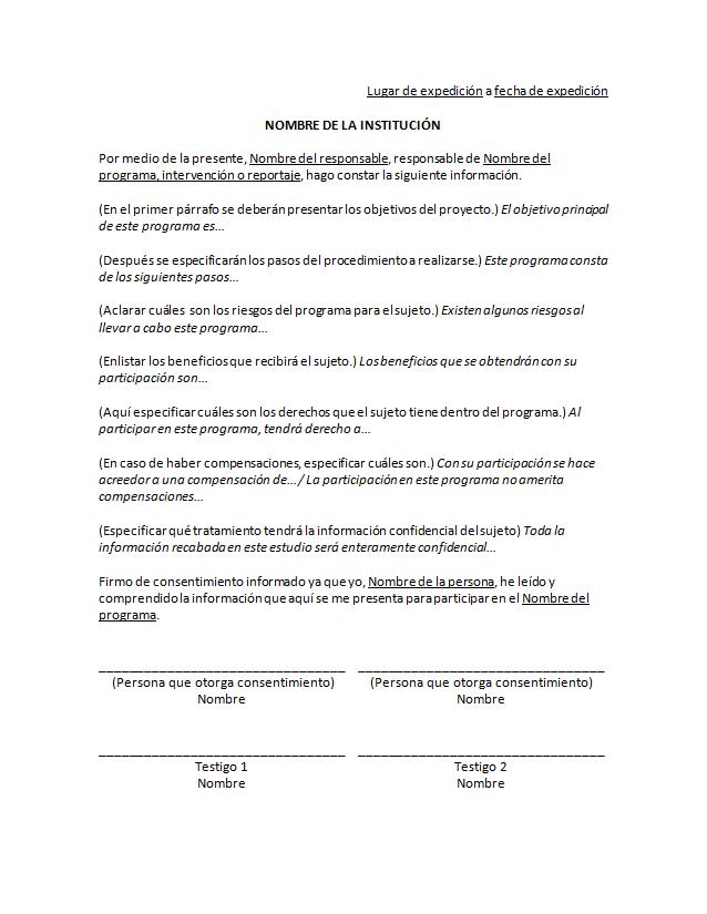 carta de consentimiento informado  u0026gt  formatos y ejemplos