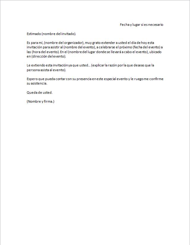 carta de invitaci u00f3n  u0026gt  formatos y ejemplos