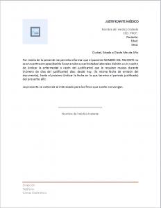 Formato de Carta de Justificante Médico