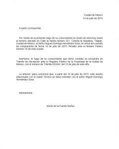 Ejemplo de carta de cesión de derechos de terreno