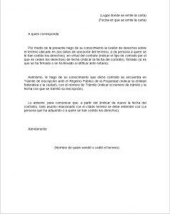 Formato de carta de cesión de derechos de terreno