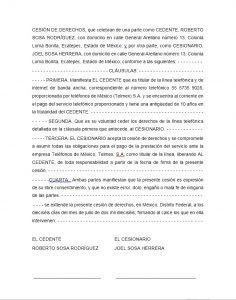 Ejemplo de carta de cesión de derechos Telmex