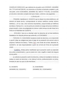 Formato de carta de cesión de derechos Telmex