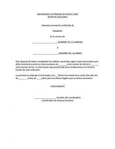 Carta de Pasante UANL