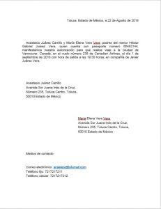 Ejemplo de carta de autorización para viajar