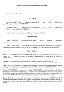 Formato Contrato de compraventa de auto