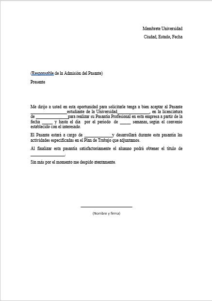 carta de pasante  u0026gt  formatos y ejemplos