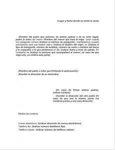 Formato de carta de autorización para viajar