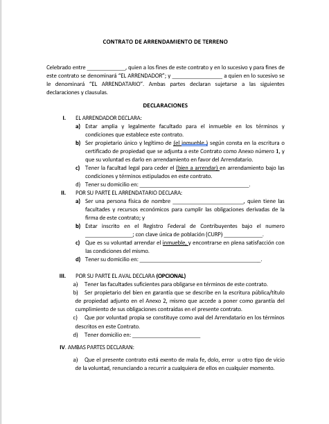 Contrato De Arrendamiento De Terreno Ejemplos Y Formatos