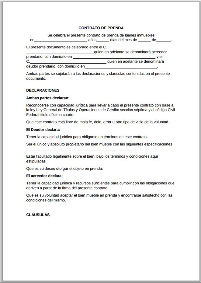contrato de prenda  u0026gt  ejemplos y formatos