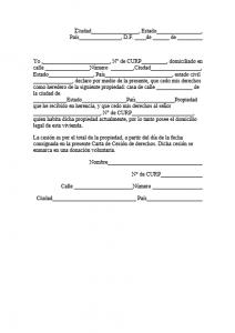 Formato de Carta de cesión de derechos de una propiedad