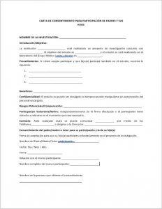 Formato de Carta de consentimiento para padres