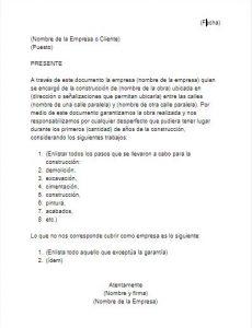 Formato de Carta de Garantía de Obra