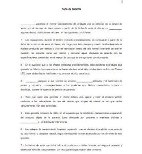 Formato de Carta de Garantía de Producto