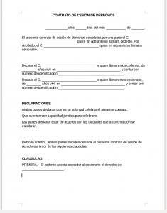 Formato de contrato de cesión de derechos