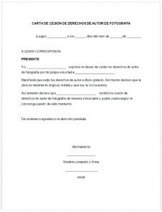 Formato de carta de cesión de derechos de autor de fotografía