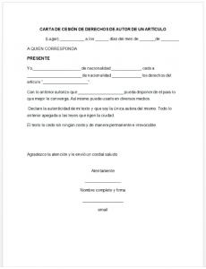 Formato de carta de cesión de derechos de autor de un artículo