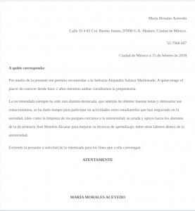 Carta de recomendación personal académica