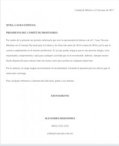 Carta de recomendación personal compañero de trabajo