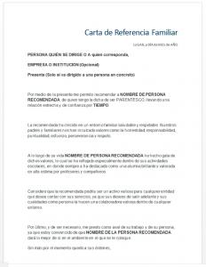 Formato de carta de recomendación familiar a un hermano