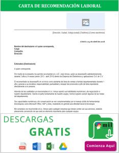 Formato de Carta de Recomendación Laboral