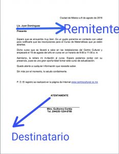Remitente y destinatario en una carta