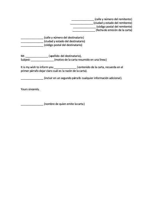Carta Formal En Inglés Formatos Y Ejemplos Word Para Imprimir