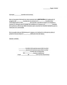 Carta de Aceptación a la Universidad