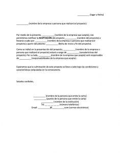 Formato Carta de Aceptación de Proyecto
