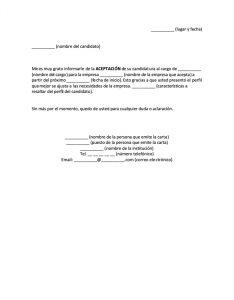 Formato Carta de Aceptación de una Empresa