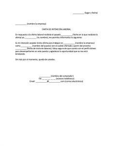 Carta de Intención Laboral
