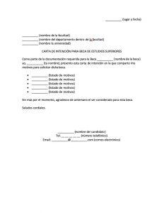 Carta de Intención para Beca