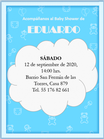 Plantilla de Invitación para Baby Shower Color azul