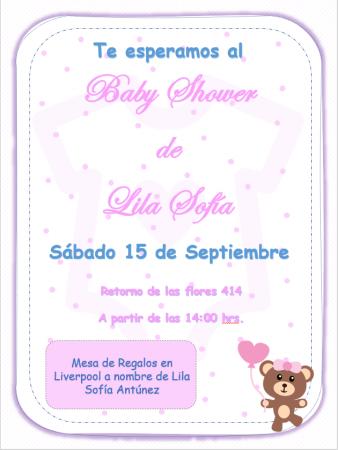 Plantilla de Invitación para Baby Shower Osita Niña