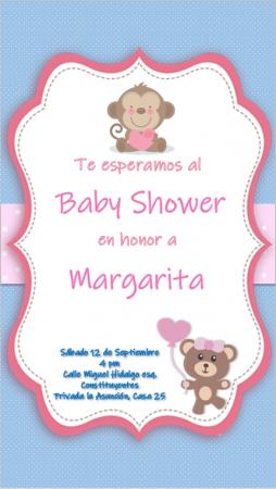 Plantilla de Invitación para Baby Shower Osita y Monita