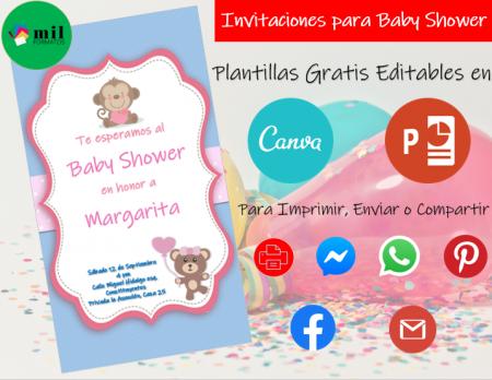 Plantillas para Invitaciones de Baby Shower - Editables - Para Imprimir