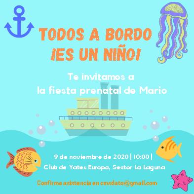 Plantilla para Invitación de Baby Shower Niño - Canva- Editable Gratis