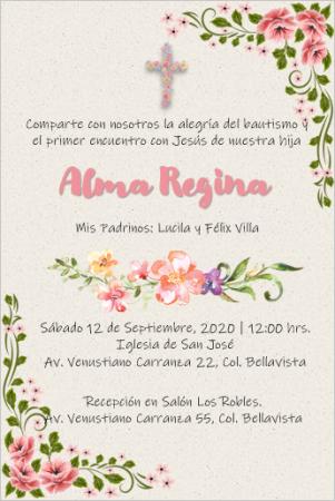 Plantilla de Invitación de Bautizo Niña - PowerPoint para Editar e Imprimir