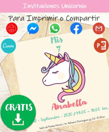 Plantillas de Invitaciones Unicornio para editar en PowerPoint