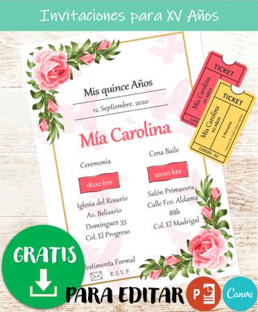 Plantilla de Invitación de XV Años Floral para editar PowerPoint