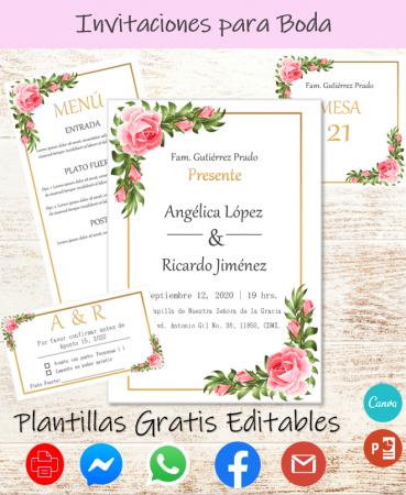 Plantillas para Invitaciones de Boda - Editables, Para Imprimir Gratis