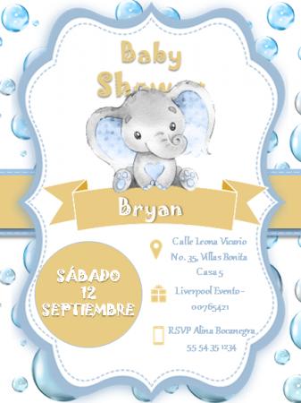 Plantilla para Invitación Baby Shower Niño - Power Point - Para Editar Gratis