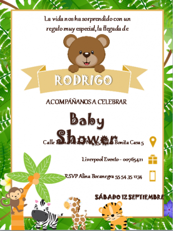 Plantilla para Invitación Baby Shower Niño - Power Point - Para Imprimir Gratis