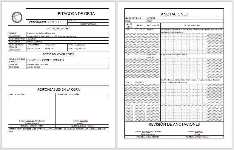 EJEMPLO DE BITÁCORA DE OBRA