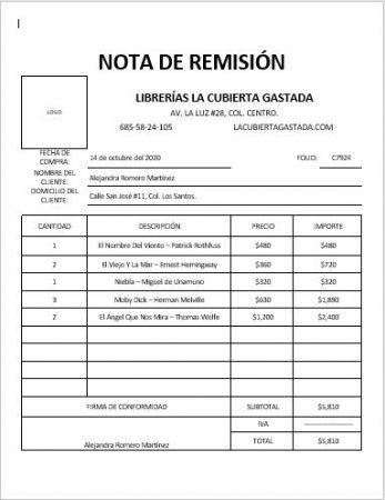 EJEMPLO NOTA DE REMISIÓN