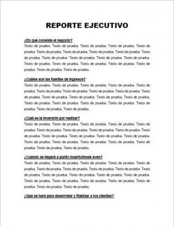 FORMATO DE REPORTE EJECUTIVO