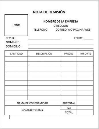 FORMATO NOTA DE REMISIÓN